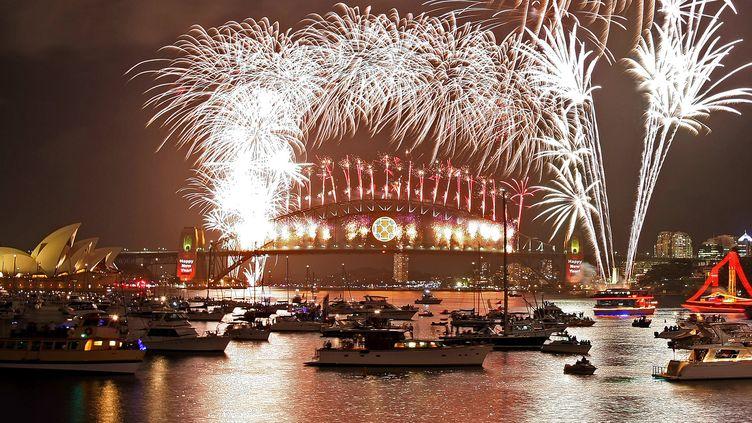Le feu d'artifice de la nouvelle année 2008 à Sydney, en Australie. (TORSTEN BLACKWOOD / AFP)