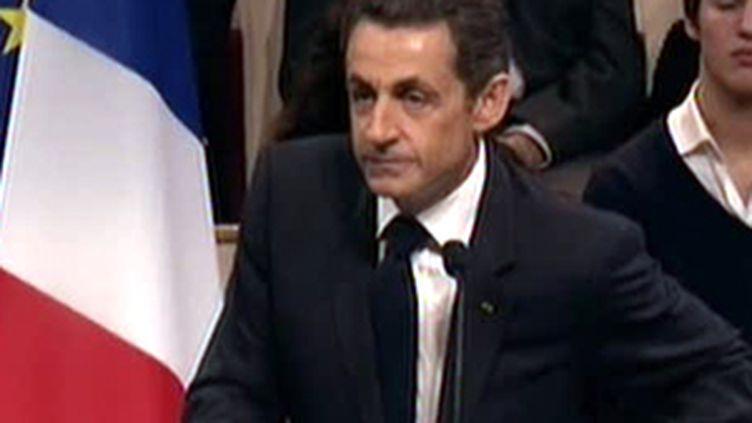 Nicolas Sarkozy samedi à Auberviliers entreprend de mobiliser l'UMP en vue des prochaines élections régionales (F2)