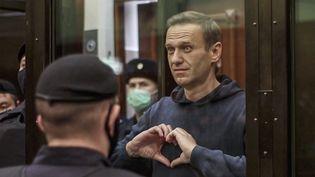 Alexei Navalny, le 2 février 2021 lors de son procès à Moscou. (MOSCOW CITY COURT PRESS SERVICE HANDOUT / MAXPPP)