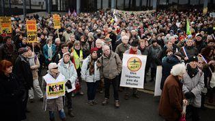 Les opposants à l'aéroport de Notre-Dame-des-Landes lors d'une précédente manifestation devant le tribunal de Nantes, le 13 janvier 2016. (JEAN-SEBASTIEN EVRARD / AFP)