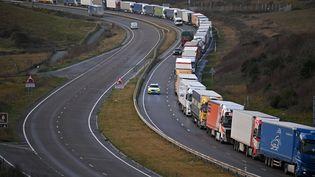 Des camions à l'arrêt sur la route du port de Douvres, dans le Kent (Royaume-Uni), le 17 décembre 2020. (BEN STANSALL / AFP)