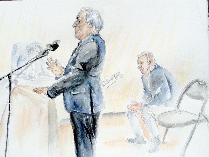 Dominique Strauss-Kahn, le 11 février 2015 au tribunal correctionnel de Lille (Nord). (ELISABETH DE POURQUERY / FRANCETV INFO)