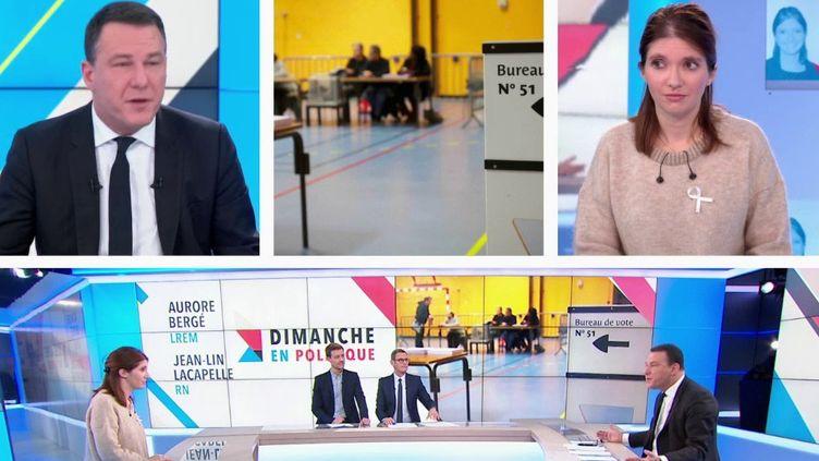 Jean-Lin Lacapelle, délégué national du Rassemblement national, et Aurore Bergé, porte-parole de La République en marche, sont présents sur le plateau de Dimanche en politique. (France 3)