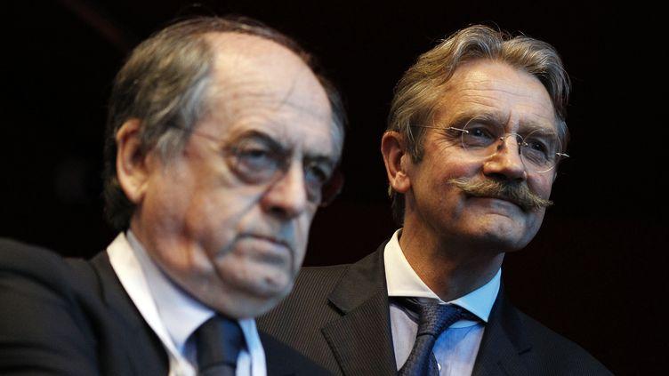 Noël Le Graet, le président de la FFF, et le président de la Ligue Frédéric Thiriez (CHARLY TRIBALLEAU / AFP)