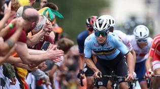 Remco Evenepoel lors des championnats du monde 2021 en Belgique. (KENZO TRIBOUILLARD / AFP)