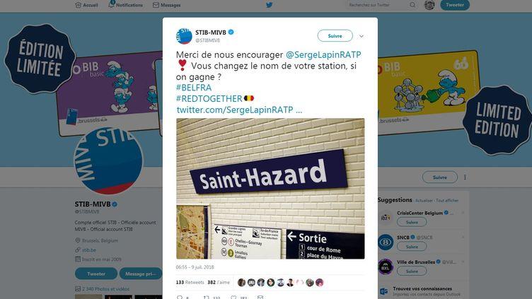 Le montage de la station Saint-Lazare, transformé avec le nom de l'attaquant belge Eden Hazard, réalisé par la régie de transports du métro bruxellois. (STIB-MIVB / TWITTER)