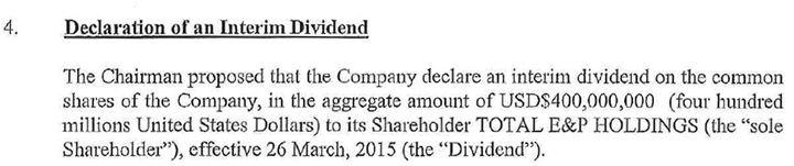 Conseil d'administration d'une filiale de Total aux Bermudes validant le versement de 400 millions de dollars de dividendes (DR)