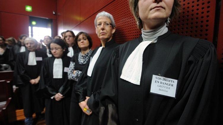 Magistrats, greffiers, fonctionnaires et avocats du Palais de Justice de Nantes ont reporté les audiences du 7 février (AFP/Frank PERRY)