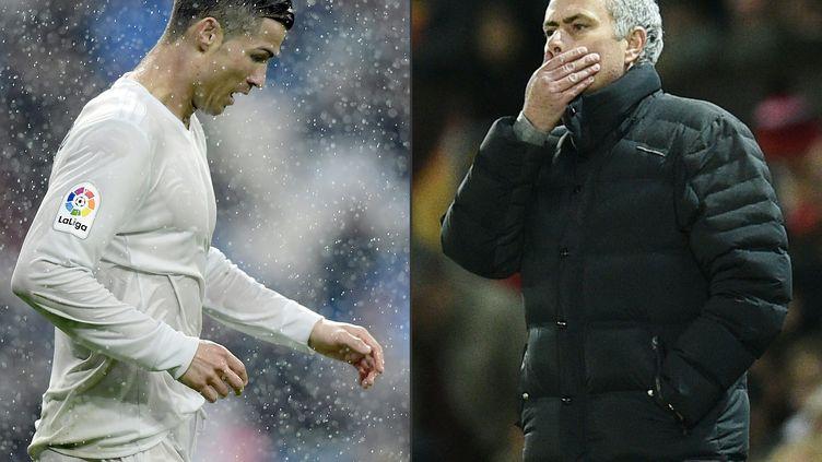 """La vedette du Real Madrid Cristiano Ronaldo et l'entraîneur de Manchester United Jose Mourinho sont accusés d'avoir participé à un """"système de dissimulation fiscale et de blanchiment"""". (JAVIER SORIANO / Oli SCARFF / AFP)"""