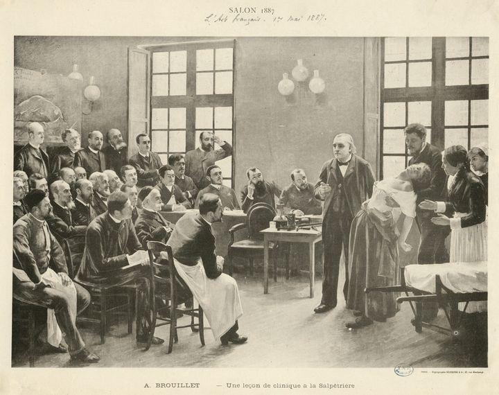 Une leçon à la Salpêtrière donnée par Charcot en 1887. (Peinture d'André Brouillet)