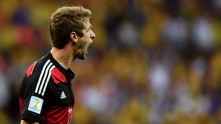 L'attaquant allemand Thomas Müller lors de la demi-finale de la Coupe du monde face au Brésil, le 8 juillet 2014 à Belo Horizonte (Brésil). (VANDERLEI ALMEIDA / AFP)