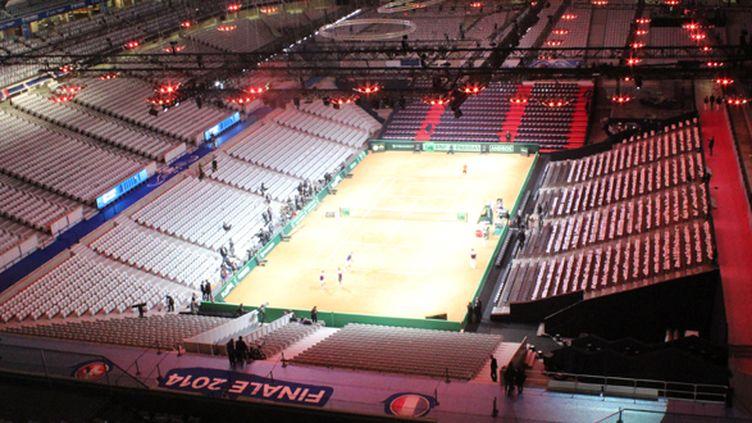 Le stade Pierre-Mauroy, en configuration tennis pour la finale de la Coupe Davis avec des radians disposés au dessus du terrain