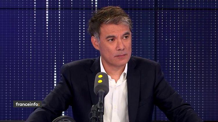 """Olivier Faure, Premier secrétaire du Parti socialiste, invité du """"8.30 franceinfo"""", dimanche 8 septembre 2019. (FRANCEINFO / RADIOFRANCE)"""