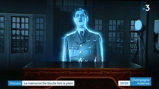 un des deux hologrammes du gl de Gaulle à Colombley (France 3 Champagne-Ardenne O. Mayer)