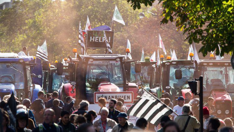 Des agriculteurs manifestent à Paris, le 4 septembre 2015. (CITIZENSIDE / RICHARD HOLDING / AFP)