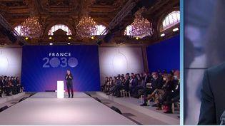 Le mardi 12 octobre, Emmanuel Macron, a annoncé son plan d'investissement pour la France de 2030.Un planà30 milliards qui ressemblent fortement à un programme de campagne présidentielle.Valéry Le Rouge, présent en plateau, précise ces annonces.  (CAPTURE D'ÉCRAN FRANCE 3)