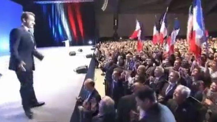 Premier meeting de campagne de Nicolas Sarkozy, à Annecy (Haute-Savoie), jeudi 16 février 2012. (FTVI)