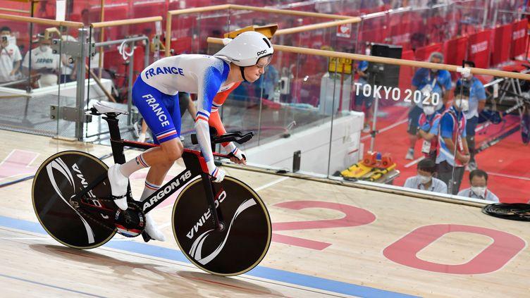 Le para-cycliste Alexandre Léautésur la pistedes Jeux paralympiques de Tokyo, le 26 août 2021. (L.PERCIVAL - CPSF)