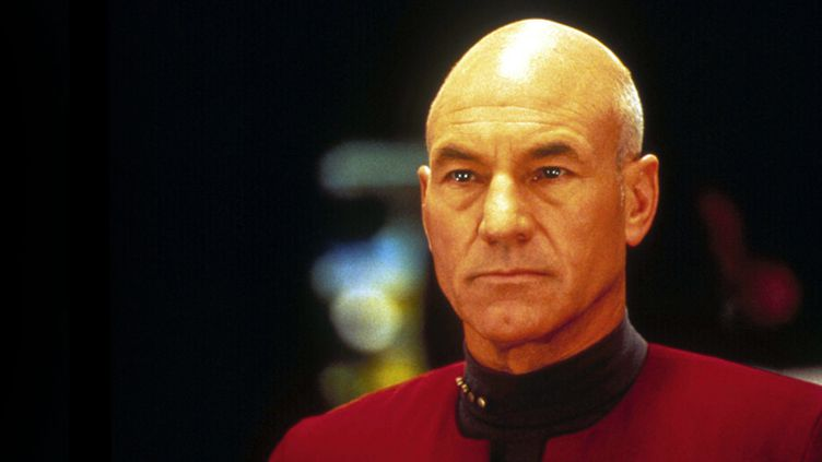 """Patrick Stewart dans """"Star Trek : The Next Generation"""" (photo datée de 1994)  (Photo12.com - Collection Cinema / Photo12 / AFP)"""