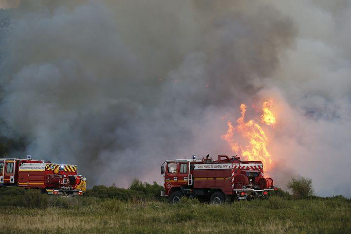 Les pompiers dépêchés dans le secteur de Luminy (Bouches-du-Rhône), lundi 5 septembre. (MAXPPP)