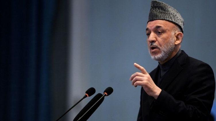 Hamid KarzaÏ, à Kaboul, le 8/03/11 (AFP/SHAH MARAI/FILES)