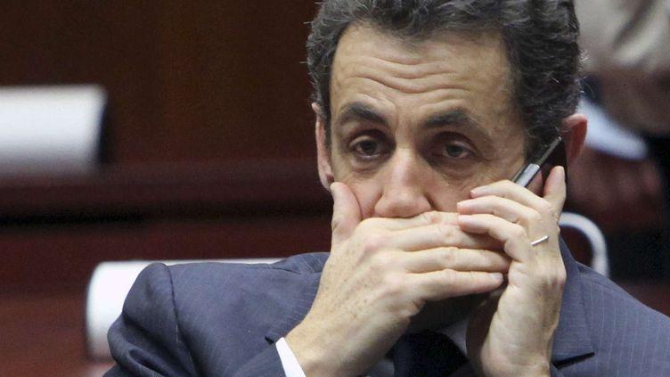 Nicolas Sarkozy, alors président, le 11 décembre 2009, lors d'un sommet européen, à Bruxelles (Belgique). (GEERT VANDEN WIJNGAERT/AP/SIPA / AP)