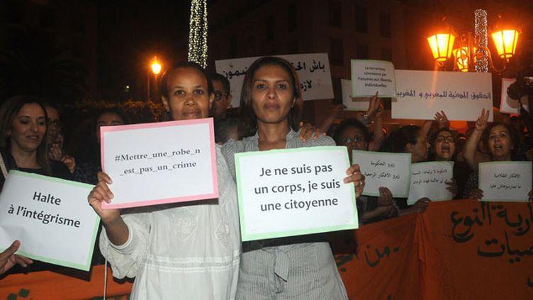(Manifestation de soutien aux deux jeunes femmes le 28 juin 2015 à Rabat © maxPPP)