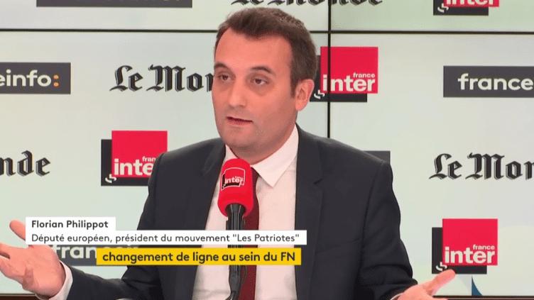 """Florian Philippot, invitédel'émission """"Questions Politiques sur France Inter-Le Monde-franceinfo"""" dimanche 15 octobre. (FRANCEINFO)"""