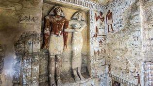 L'intérieur de la tombe d'un prêtre découverte sur le site de Saqqara, près du Caire (15 décembre 2018)  (Khaled Desouki / AFP)