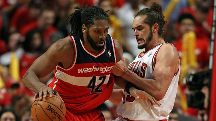 Néné (Washington Wizards) a fait souffrir Joakim Noah (Chicago Bulls) (JONATHAN DANIEL / GETTY IMAGES NORTH AMERICA)