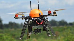 Un drone de l'entreprise française Fly-n-Sense, permettant de surveiller les feux de forêt, photographié le 12 juillet 2012. (PIERRE ANDRIEU / AFP)