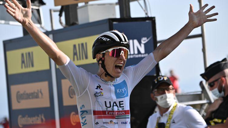 Tadej Pogacar (UAE Team Emirates) remporte la 15e étape au Grand Colombier (ANNE-CHRISTINE POUJOULAT / AFP)