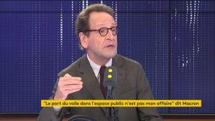 Gilles Le Gendre, président du groupe LREM à l'Assemblée nationale, vendredi 25 octobre, sur franceinfo. (FRANCEINFO / RADIOFRANCE)