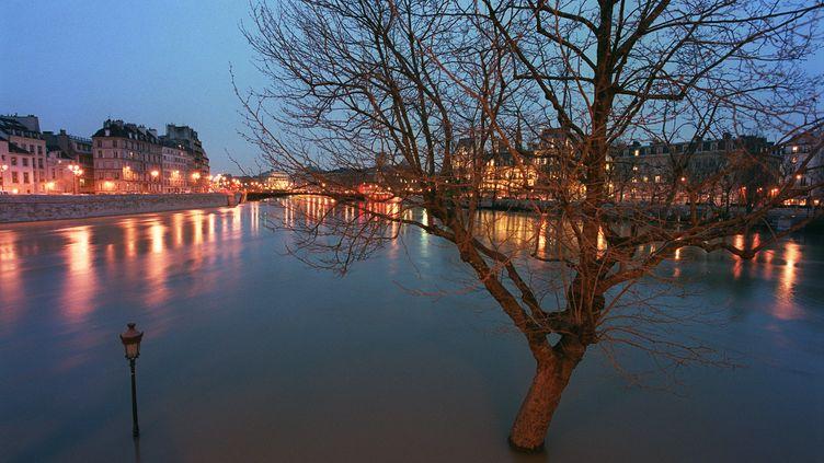 En mars 2001, la Seine avait inondé les berges de l'île Saint-Louis, à Paris. (BERTRAND GUAY / AFP)