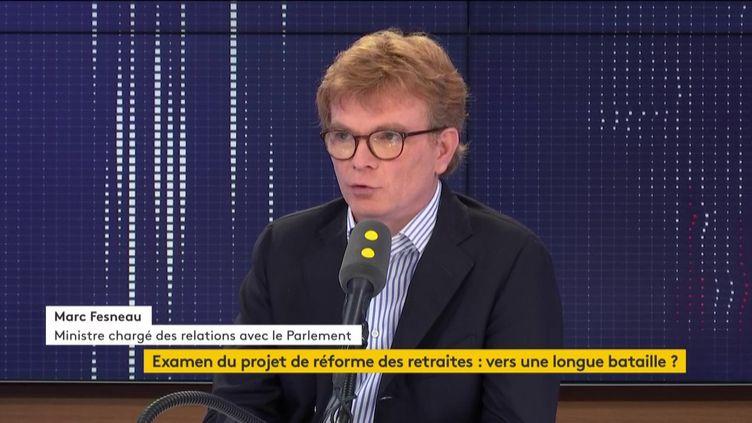 """Marc Fesneau, ministre chargé des Relations avec le Parlement, était l'invité du """"8h30 franceinfo"""" le 2 février 2020. (FRANCEINFO / RADIO FRANCE)"""