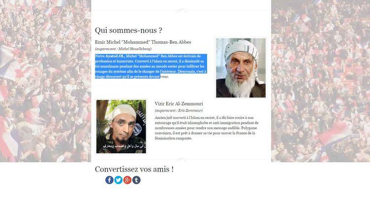 Capture d'écran du site parodique de Fraternité musulmane, parti imaginé par Michel Houellebecq. Le site a été créé en janvier 2014. (FRATERNITE MUSULMANE)