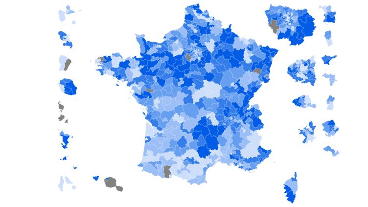 CARTE. Législatives : la France du vote Les Républicains au premier tour (NICOLAS ENAULT / CARTO)