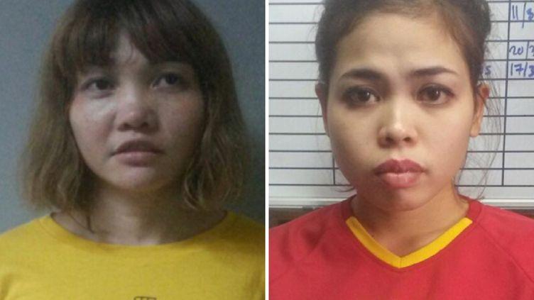Montage photo des deux femmes accusées du meurtre de KimJong-nam, l'Indonésienne Siti Aisyah (à droite) et la Vietnamienne Thi Huong(à gauche). (HANDOUT / ROYAL MALAYSIAN POLICE / AFP)