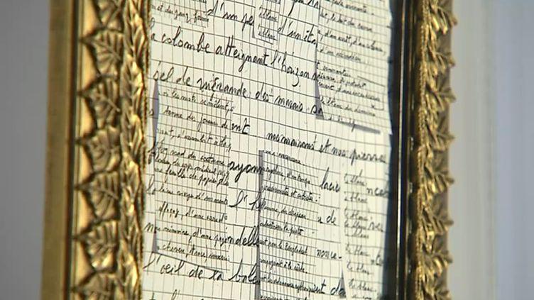 Les mots d'un détenu encadrés et exposés au public. (A. Sabatier / France 3)
