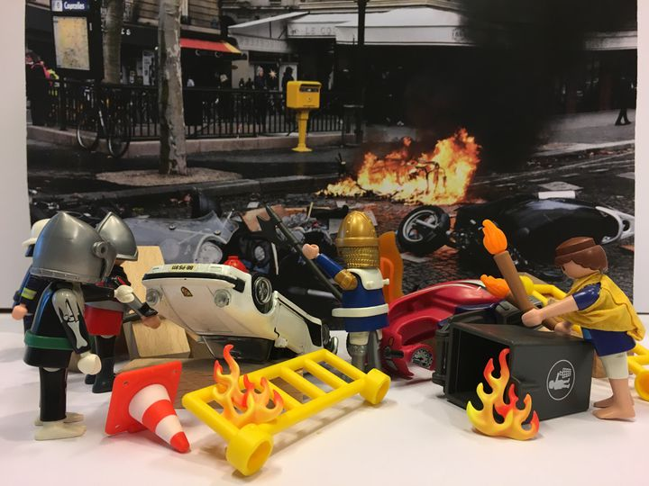 """Des casseurs sont régulièrement présents dans les manifestations des """"gilets jaunes"""", détruisant oudétériorant du mobilier urbain, des voitures et des magasins. (GUILLEMETTE JEANNOT / FRANCEINFO)"""