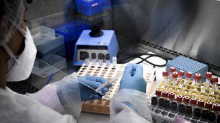 Des échantillons de tests PCR pour le Covid-19 analysés dans un laboratoire de Neuilly-sur-Seine (Hauts-de-Seine), en septembre 2020. (ALAIN JOCARD / AFP)