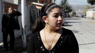 Leonarda Dibrani, le 20 octobre 2013 à Mitrovica (Kosovo). (ARMEND NIMANI / AFP)