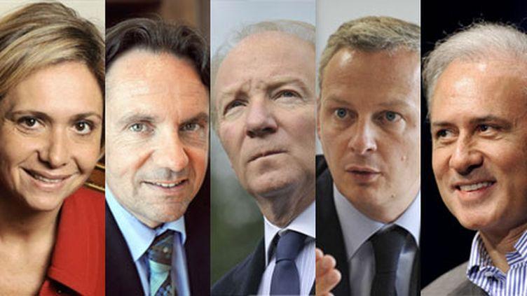 Valérie Pécresse, Frédéric Lefèbvre, Brice Hortefeux, Bruno Le Maire et Georges Tron (AFP)