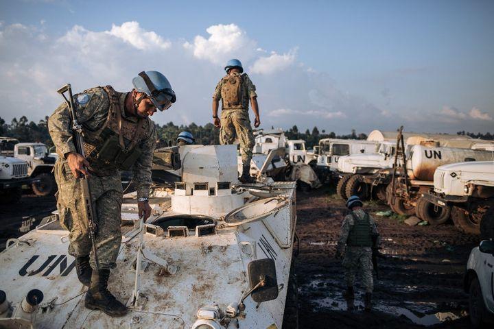 MONUSCO Uruguayan peacekeepers arrive at their base in Fataki in the Ituri region of the DRC on 14 September 2020 (ALEXIS HUGUET / AFP)
