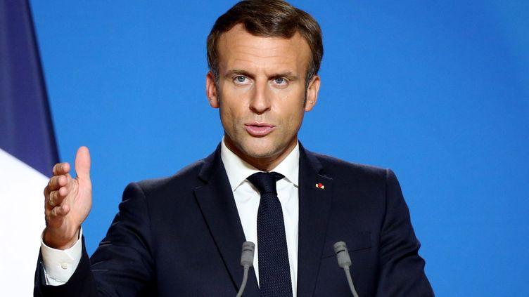 Emmanuel Macron lors d'un sommet de l'Union européenne à Bruxelles, le 1er octobre 2020. (DURSUN AYDEMIR / ANADOLU AGENCY / AFP)