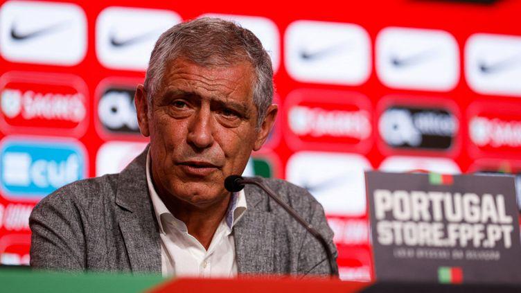 Le sélectionneur de l'équipe du Portugal Fernando Santos lors de l'annonce de sa liste pour l'Euro 2021, le 20 mai, à Lisbonne. (HANDOUT / PORTUGUESE FOOTBALL FEDERATION ()