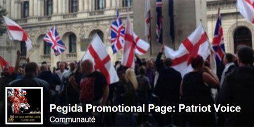 Capture écran de la page de Pegida Angleterre (Pegida)