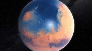 Cette image de synthèsemontre ce à quoi la planète rouge pouvait ressembler il y a près de 4 milliardsd'années. (KORNMESSER-RISINGER / ESO)