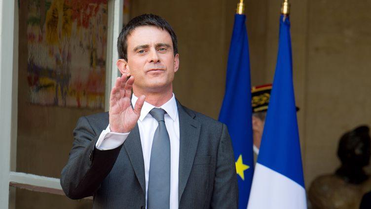 Manuel Valls, le 1er avril 2014, lors de sa prise de fonctions àMatignon. (VILLARD / WITT / SIPA)