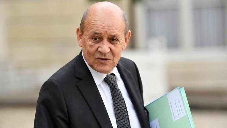 Le ministre des Affaires étrangères Jean-Yves Le Drian à l'Elysée, le 30 septembre 2019. (BERTRAND GUAY / AFP)